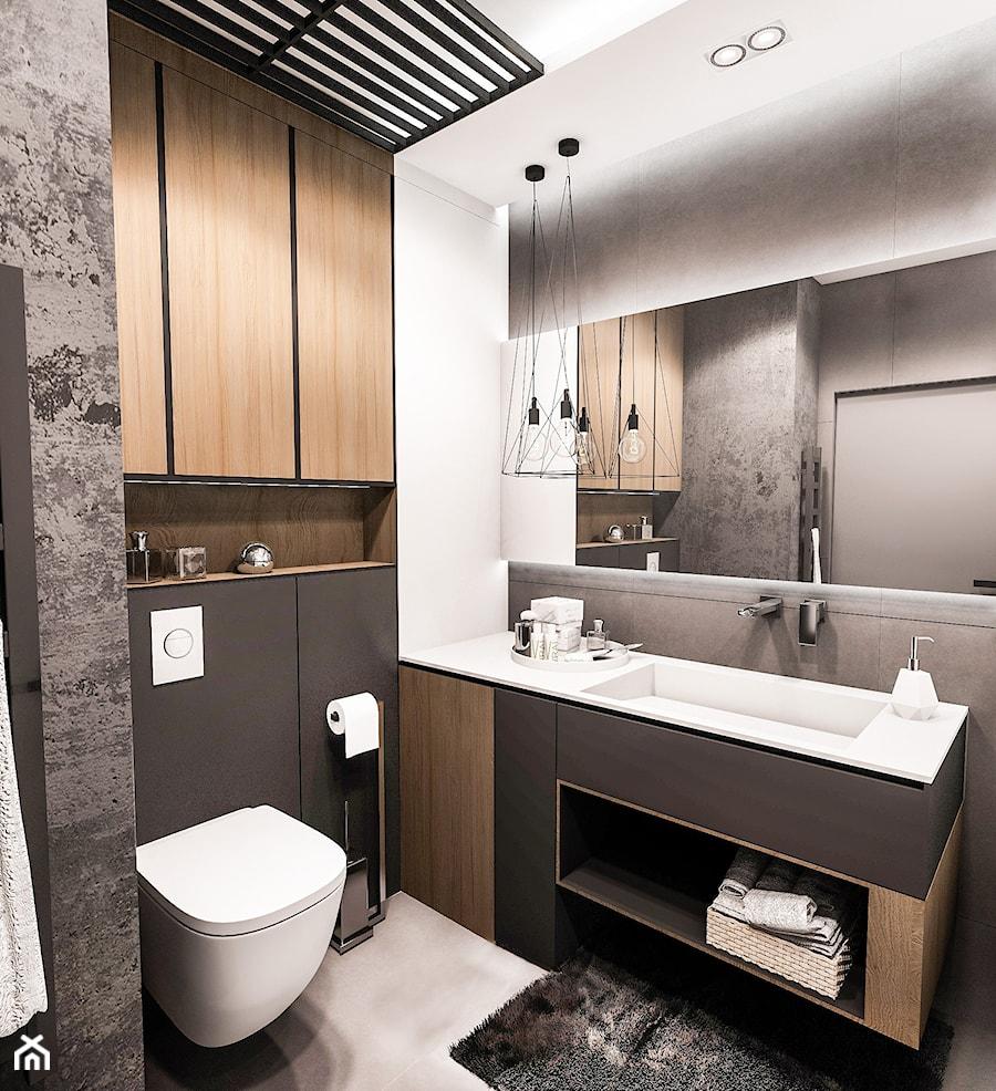 PROJEKT MIESZKANIA - ŁÓDZ 2018 - Mała biała czarna łazienka w bloku w domu jednorodzinnym bez okna - zdjęcie od BIBI