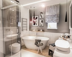 PROJEKT WNĘTRZ DOMU POD WARSZAWĄ 2018 - Średnia biała szara łazienka w bloku w domu jednorodzinnym z oknem, styl rustykalny - zdjęcie od BIBI