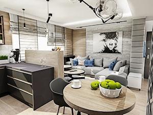 Projekt mieszkania - Gdańsk 2019 r. - Średni biały salon z kuchnią z jadalnią, styl nowoczesny - zdjęcie od BIBI