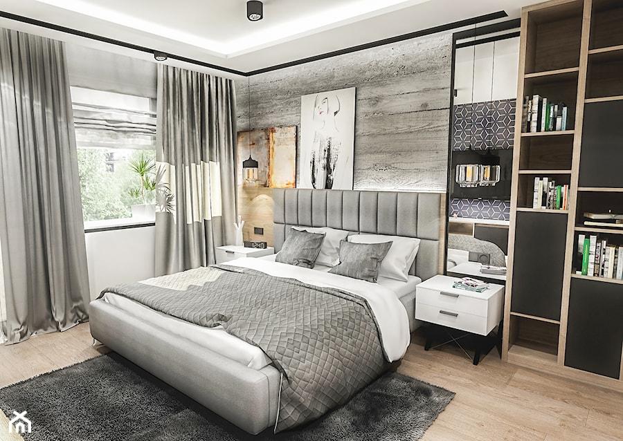 Projekt mieszkania - Gdańsk 2019 r. - Średnia szara sypialnia małżeńska, styl nowoczesny - zdjęcie od BIBI