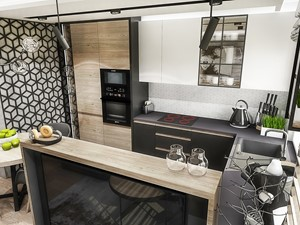 Projekt mieszkania - Gdańsk 2019 r. - Średnia otwarta kuchnia w kształcie litery u z oknem, styl nowoczesny - zdjęcie od BIBI