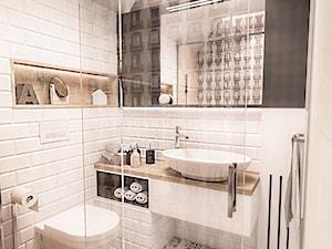 Projekt mieszkania w Łodzi 65 m2 - Mała biała łazienka na poddaszu w domu jednorodzinnym bez okna, styl skandynawski - zdjęcie od BIBI
