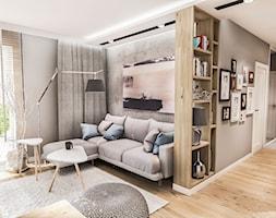 PROJEKT MIESZKANIA 50 m2- Łódź 2018 - Mały szary salon z bibiloteczką z tarasem / balkonem, styl skandynawski - zdjęcie od BIBI