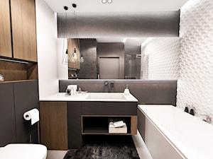 PROJEKT MIESZKANIA - ŁÓDZ 2018 - Duża biała czarna łazienka w bloku w domu jednorodzinnym bez okna - zdjęcie od BIBI