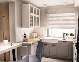 PROJEKT DOMU JEDNORODZINNEGO - GDAŃSK 2018r. - Średnia biała szara kuchnia w kształcie litery u w aneksie z oknem, styl vintage - zdjęcie od BIBI