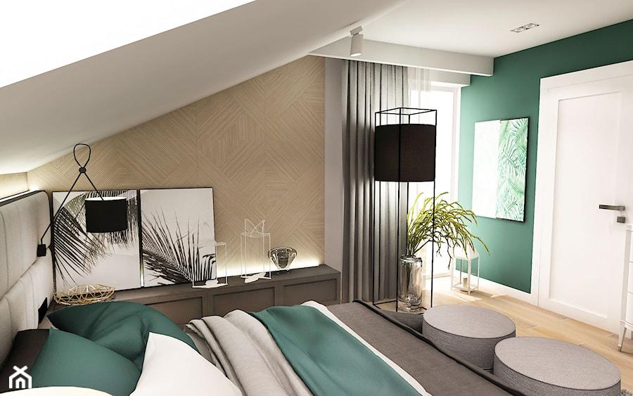 Projekt wnętrza domu pod Sewillą - Średnia biała zielona sypialnia małżeńska na poddaszu - zdjęcie od BIBI