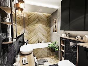 ŁAZIENKA - WROCŁAW 2019 - Średnia czarna szara łazienka bez okna, styl vintage - zdjęcie od BIBI