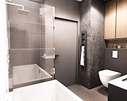 PROJEKT MIESZKANIA - ŁÓDZ 2018 - Średnia czarna łazienka w bloku w domu jednorodzinnym bez okna - zdjęcie od BIBI - Homebook