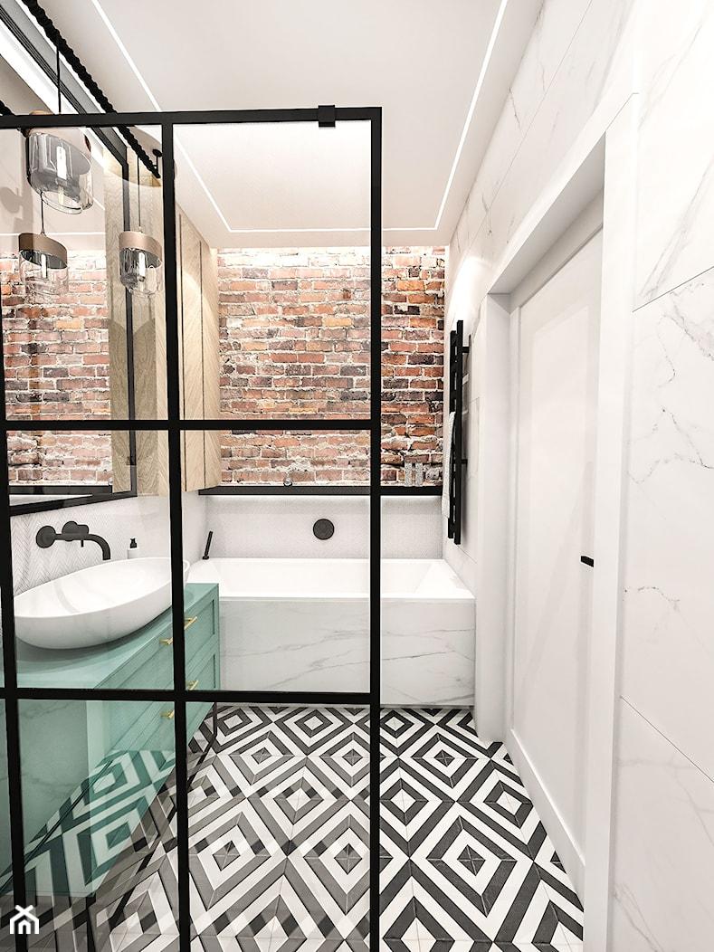 PROJEKT ŁAZIENKI - 6m2 - Mała łazienka w bloku w domu jednorodzinnym bez okna, styl skandynawski - zdjęcie od BIBI - Homebook
