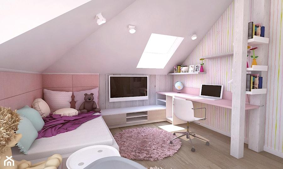 Pokój dziewczynki na poddaszu - Średni biały różowy pokój dziecka dla dziewczynki dla ucznia dla nastolatka, styl tradycyjny - zdjęcie od BIBI