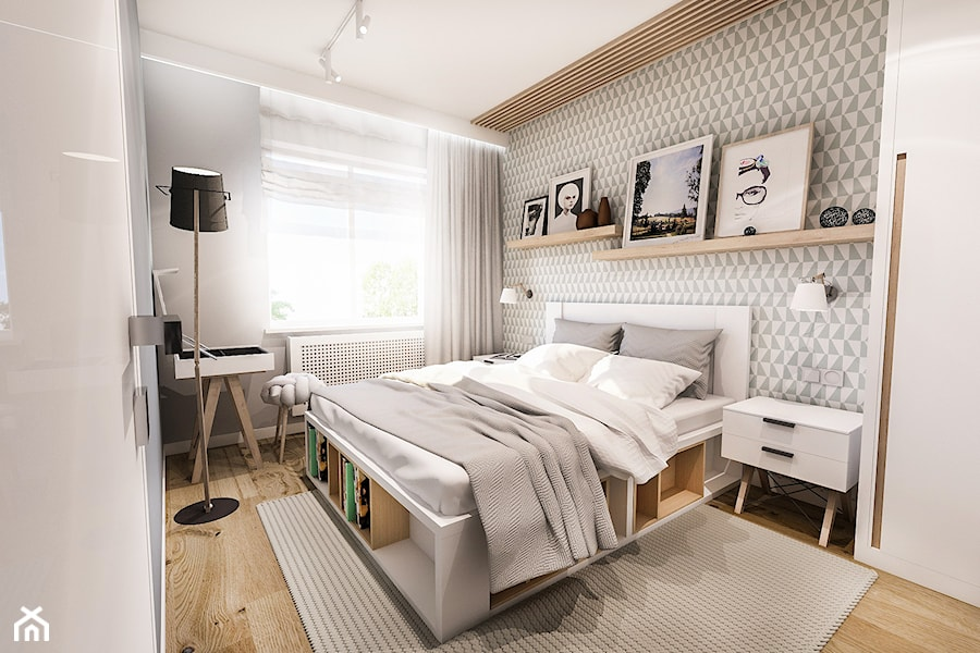 Aranżacje wnętrz - Sypialnia: PROJEKT SYPIALNI - Mała biała szara sypialnia małżeńska, styl skandynawski - BIBI. Przeglądaj, dodawaj i zapisuj najlepsze zdjęcia, pomysły i inspiracje designerskie. W bazie mamy już prawie milion fotografii!