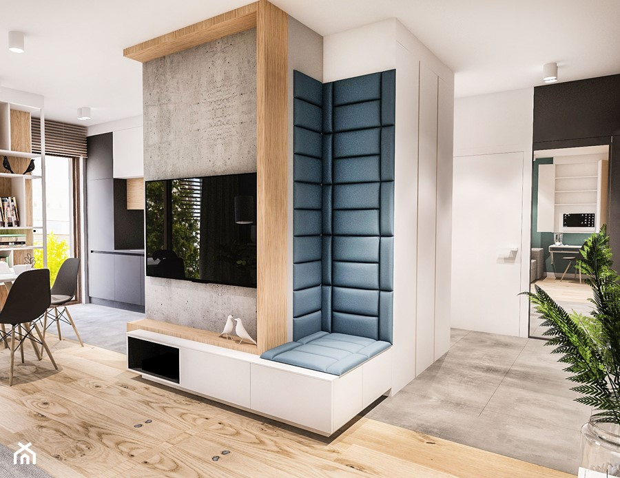 PROJEKT MIESZKANIA 46 m2-Wawa 2018 - Średni biały czarny hol / przedpokój, styl skandynawski - zdjęcie od BIBI
