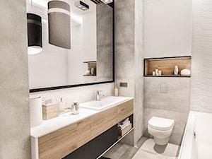 Projekt mieszkania 70m2- Wawa 2017 - Średnia biała łazienka w bloku w domu jednorodzinnym bez okna, styl nowoczesny - zdjęcie od BIBI