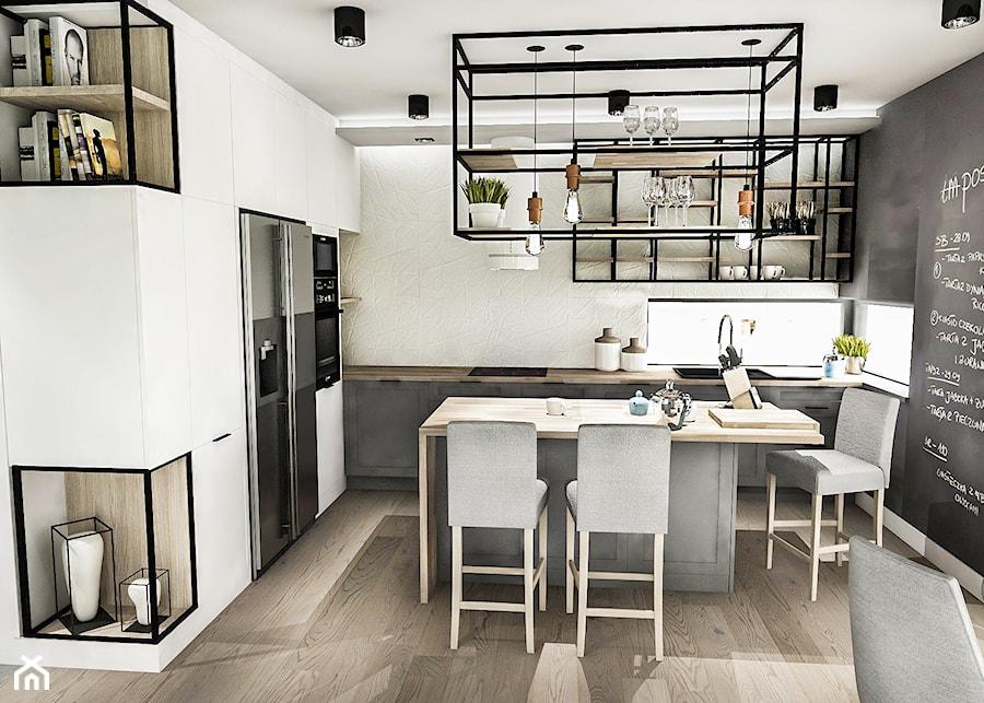 PROJEKT WNĘTRZA DOMU -ŁÓDŹ 2019 - Duża biała czarna kuchnia w kształcie litery l w aneksie z wyspą z oknem - zdjęcie od BIBI