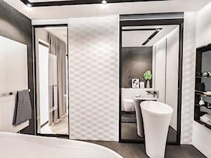 PROJEKT ŁAZIENKI -LDZ 2018 - Średnia biała łazienka w bloku w domu jednorodzinnym bez okna, styl nowoczesny - zdjęcie od BIBI