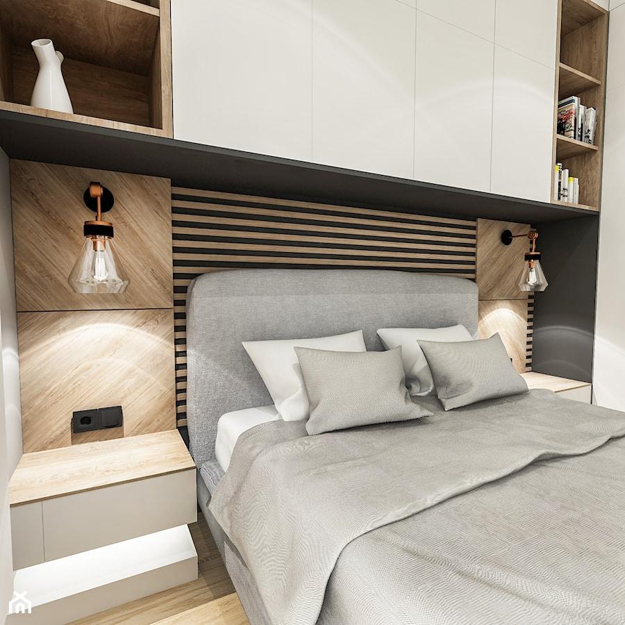 Projekt Mieszkania W-wa 2019 - Mała szara sypialnia małżeńska - zdjęcie od BIBI
