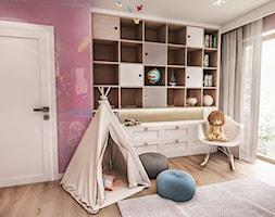 Projekt wnętrza domu pod Sewillą - Mały szary różowy pokój dziecka dla dziewczynki dla malucha - zdjęcie od BIBI