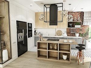 PROJEKT KUCHNI -WROCŁAW 2019 - Średnia otwarta biała kuchnia w kształcie litery l w aneksie z wyspą z oknem, styl vintage - zdjęcie od BIBI