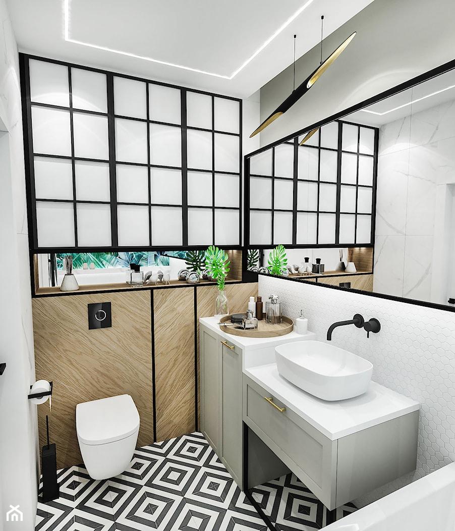 PROJEKT ŁAZIENKI - 6m2 - Mała łazienka, styl vintage - zdjęcie od BIBI - Homebook