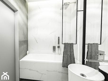 Aranżacje wnętrz - Łazienka: PROJEKT MIESZKANIA - LDZ 2018 - Mała biała szara łazienka w bloku w domu jednorodzinnym bez okna - BIBI. Przeglądaj, dodawaj i zapisuj najlepsze zdjęcia, pomysły i inspiracje designerskie. W bazie mamy już prawie milion fotografii!