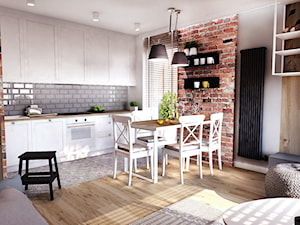 PROJEKT MIESZKANIA 50 m2- Łódź 2018 - Mała biała szara kuchnia jednorzędowa w aneksie z oknem, styl skandynawski - zdjęcie od BIBI