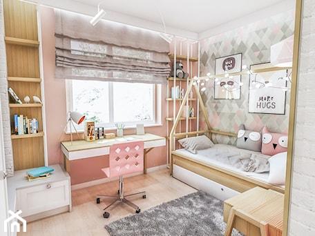 Projekt mieszkania - Gdańsk 2019 r. - Mały szary różowy pokój dziecka dla dziewczynki dla malucha, styl vintage - zdjęcie od BIBI
