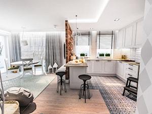 Projekt kuchni i salonu w Łodzi 35 m2 - Średnia otwarta biała szara kuchnia w kształcie litery u w aneksie z oknem, styl skandynawski - zdjęcie od BIBI