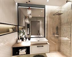 PROJEKT DOMU JEDNORODZINNEGO - GDAŃSK 2018r. - Mała szara łazienka w bloku w domu jednorodzinnym bez okna, styl vintage - zdjęcie od BIBI