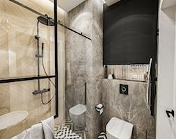 Projekt małej łazienki - Mała beżowa szara łazienka w bloku w domu jednorodzinnym bez okna, styl klasyczny - zdjęcie od BIBI