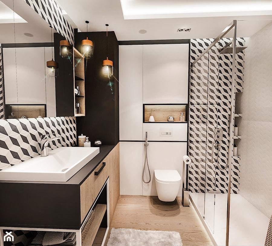 PROJEKT MIESZKANIA -Wawa Bemowo 2018 - Średnia biała czarna łazienka w bloku w domu jednorodzinnym bez okna, styl industrialny - zdjęcie od BIBI