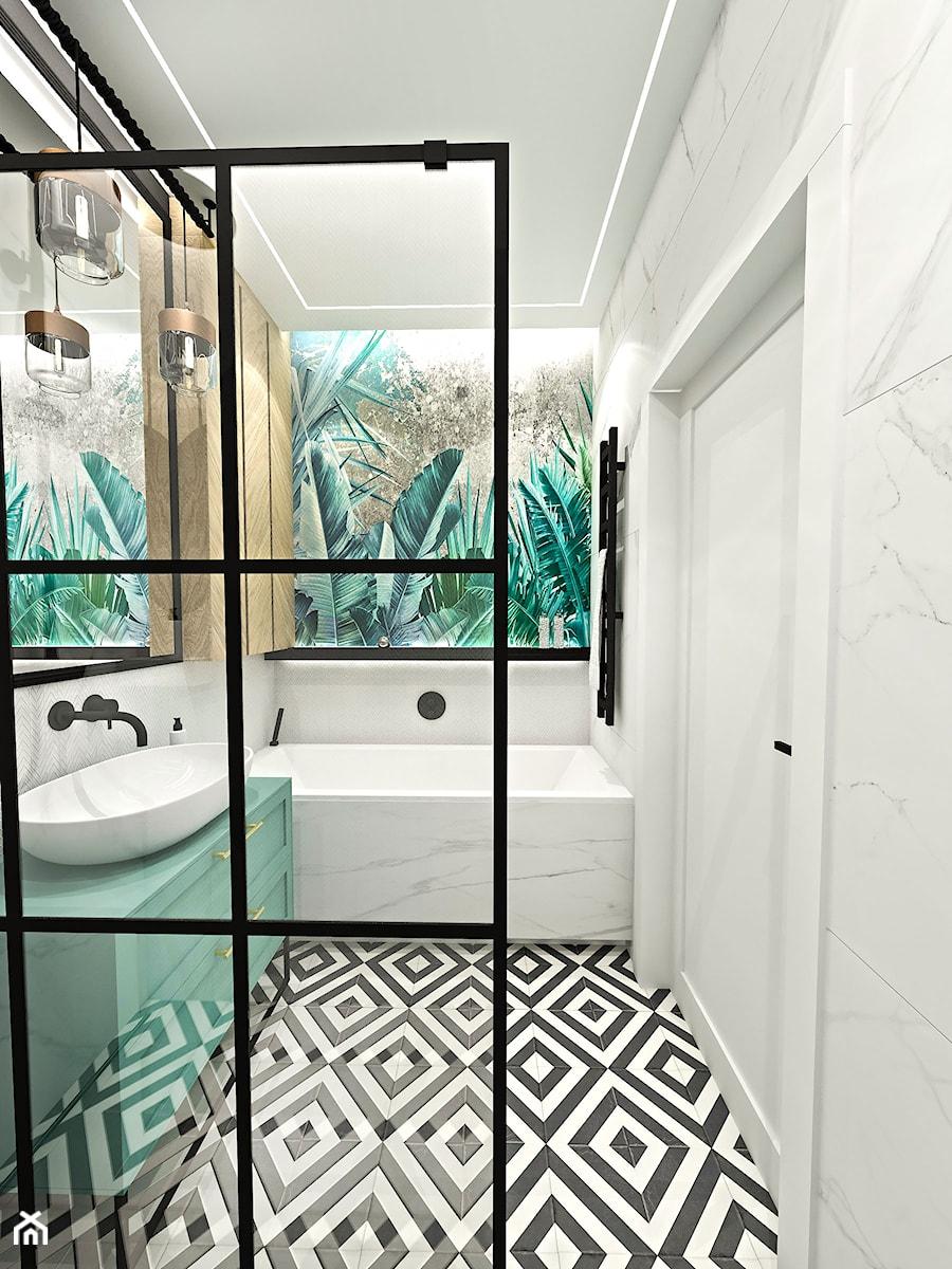 PROJEKT ŁAZIENKI - 6m2 - Średnia łazienka w bloku w domu jednorodzinnym bez okna, styl nowojorski - zdjęcie od BIBI