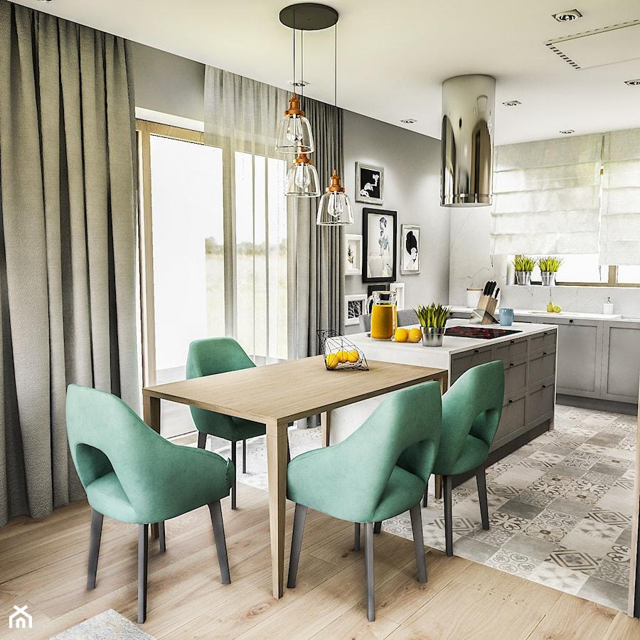 Projekt wnętrza domu pod Sewillą - Średnia szara kuchnia jednorzędowa w aneksie z wyspą z oknem - zdjęcie od BIBI