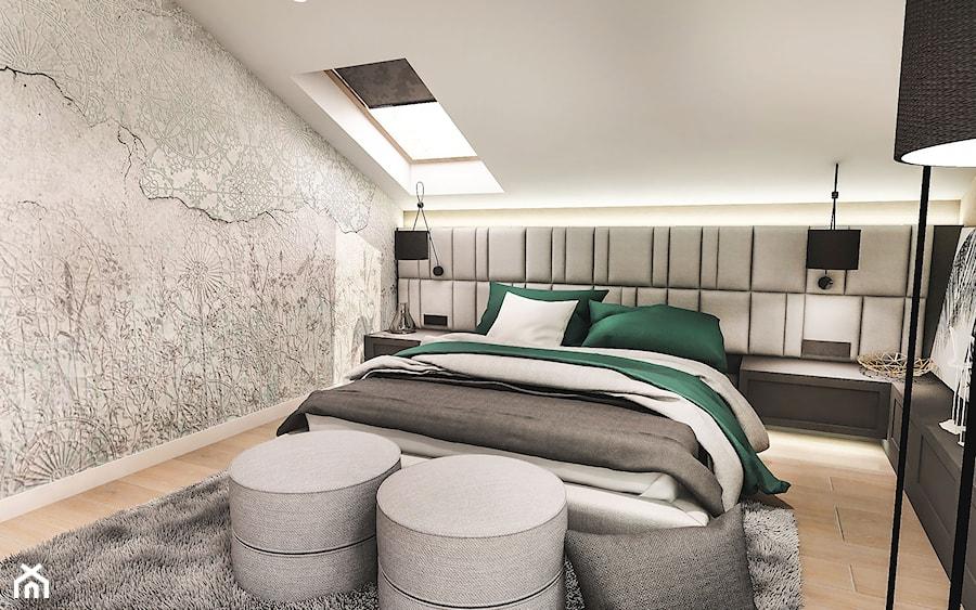 Projekt wnętrza domu pod Sewillą - Mała szara sypialnia małżeńska na poddaszu - zdjęcie od BIBI