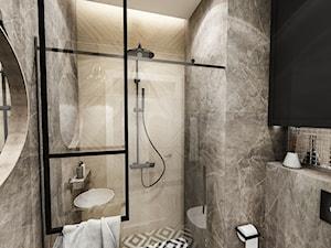 PROJEKT MIESZKANIA - WAWA-SŁUŻEW 2018 - Mała czarna łazienka w bloku w domu jednorodzinnym bez okna, styl rustykalny - zdjęcie od BIBI