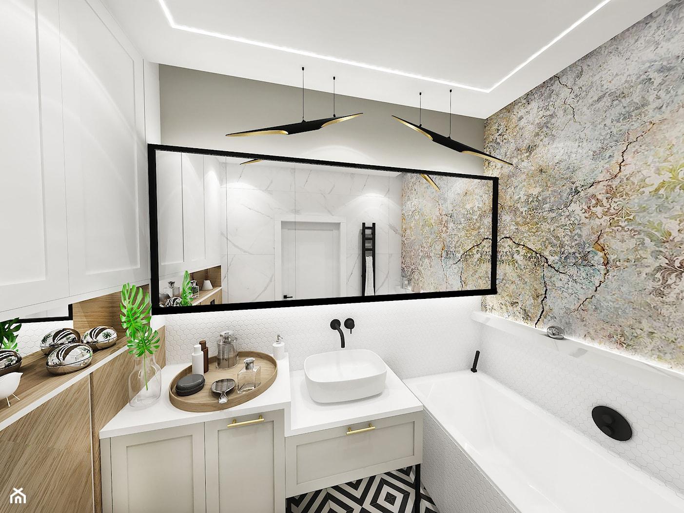 PROJEKT ŁAZIENKI - 6m2 - Średnia łazienka w bloku w domu jednorodzinnym bez okna, styl vintage - zdjęcie od BIBI - Homebook