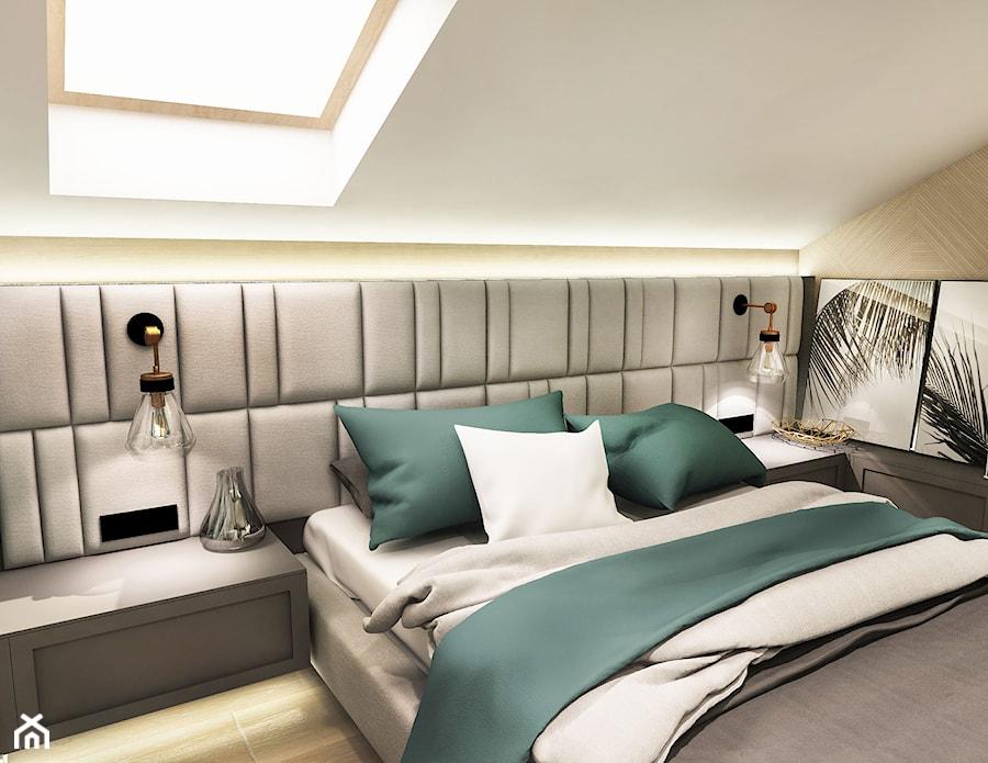 Projekt wnętrza domu pod Sewillą - Mała biała sypialnia małżeńska na poddaszu - zdjęcie od BIBI