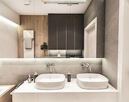 Projekt Mieszkania W-wa 2019 - Biała czarna łazienka w bloku w domu jednorodzinnym bez okna - zdjęcie od BIBI