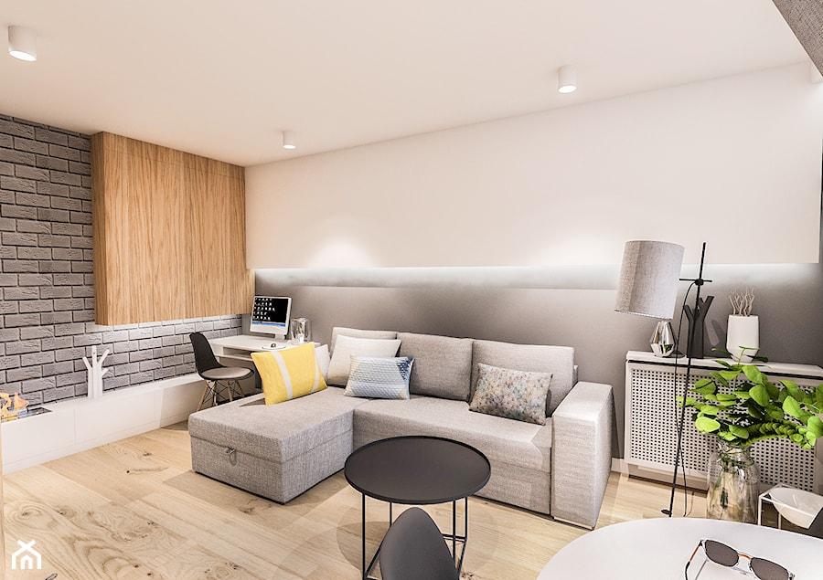 PROJEKT MIESZKANIA 46 m2-Wawa 2018 - Mały szary salon z jadalnią, styl skandynawski - zdjęcie od BIBI
