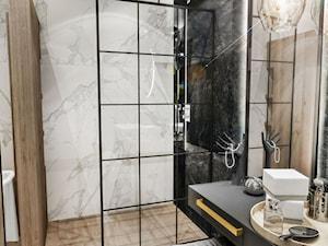 """ŁAZIENKA """"CIEMNA """" 2018 - Średnia czarna szara łazienka w bloku w domu jednorodzinnym bez okna, styl nowojorski - zdjęcie od BIBI"""