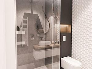 Projekt mieszkania 70m2- Wawa 2017 - Mała czarna łazienka w bloku w domu jednorodzinnym bez okna, styl nowoczesny - zdjęcie od BIBI