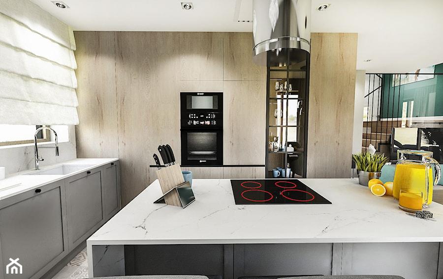 Projekt wnętrza domu pod Sewillą - Duża biała kuchnia w kształcie litery u w aneksie z wyspą z oknem - zdjęcie od BIBI