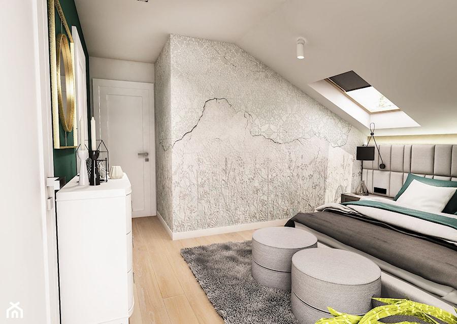 Projekt wnętrza domu pod Sewillą - Średnia szara sypialnia małżeńska na poddaszu - zdjęcie od BIBI