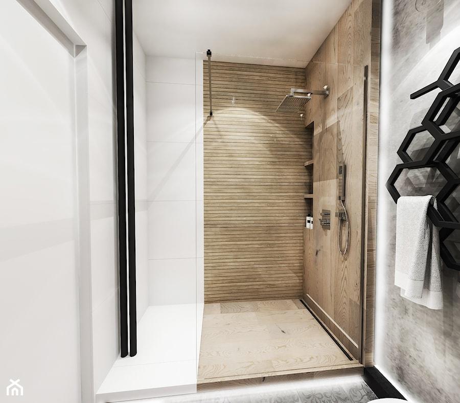 Projekt mieszkania - Gdańsk 2019 r. - Mała biała szara łazienka w bloku w domu jednorodzinnym bez okna, styl nowoczesny - zdjęcie od BIBI