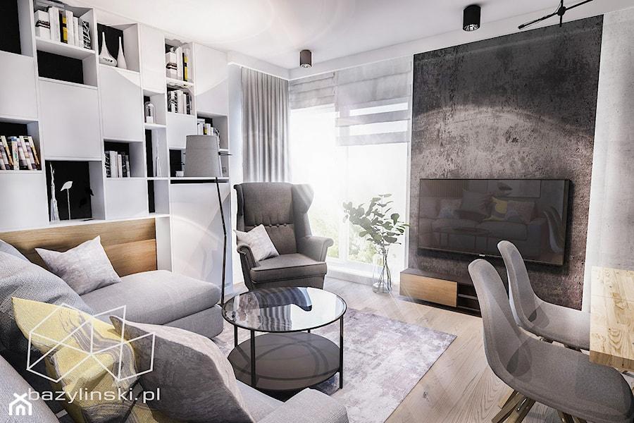 PROJEKT MIESZKANIA - ŁÓDZ 2018 - Mały salon z bibiloteczką z tarasem / balkonem - zdjęcie od BIBI