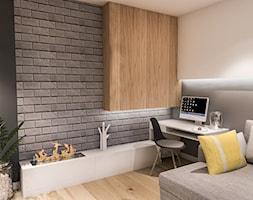PROJEKT MIESZKANIA 46 m2-Wawa 2018 - Mały szary biały salon, styl skandynawski - zdjęcie od BIBI - Homebook