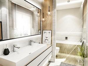 PROJEKT ŁAZIENKI - Tyrol w 2 2018 - Średnia beżowa łazienka w bloku w domu jednorodzinnym z oknem, styl skandynawski - zdjęcie od BIBI
