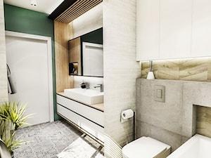 PROJEKT ŁAZIENKI - Tyrol w 2 2018 - Średnia biała zielona łazienka w bloku w domu jednorodzinnym bez okna, styl skandynawski - zdjęcie od BIBI