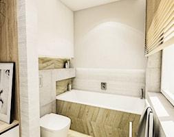 PROJEKT ŁAZIENKI - Tyrol w 2 2018 - Średnia beżowa łazienka w bloku w domu jednorodzinnym bez okna, styl skandynawski - zdjęcie od BIBI