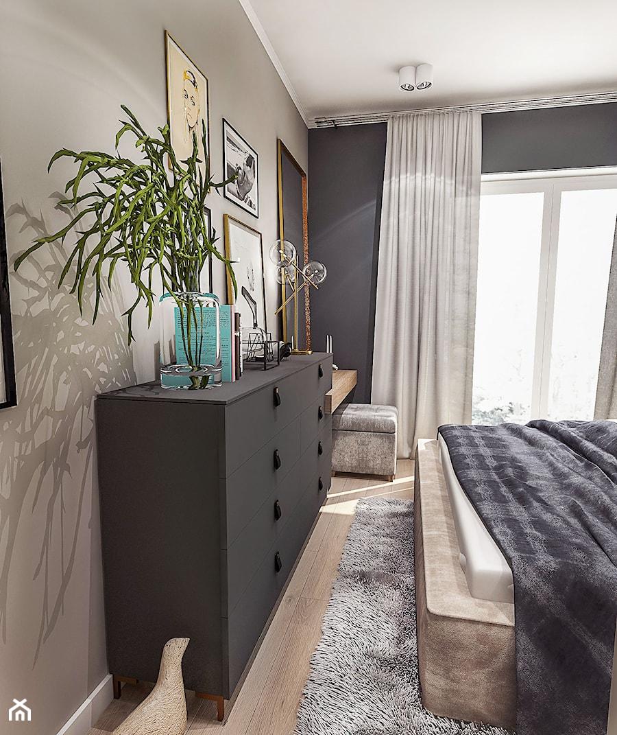 PROJEKT MIESZKANIA / Wersja ciemna - ŁÓDŹ 2019 - Mała szara czarna sypialnia małżeńska z balkonem / tarasem, styl vintage - zdjęcie od BIBI