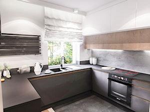 Projekt mieszkania 70m2- Wawa 2017 - Średnia biała szara kuchnia w kształcie litery u w aneksie z oknem, styl nowoczesny - zdjęcie od BIBI